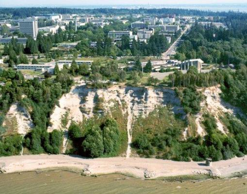 View of Museum of Anthropology and Point Grey cliffs;https://open.library.ubc.ca/collections/arphotos/items/1.0156478