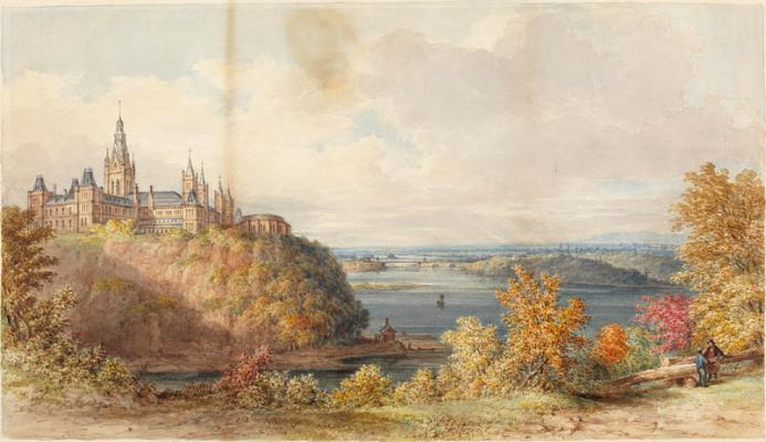 Painting of Houses of Parliament , James Duncan, watercolour, 1866https://www.flickr.com/photos/lac-bac/31475915996/in/album-72157677492475586/