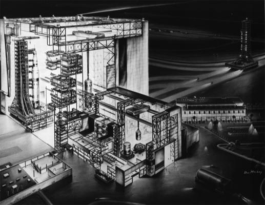 Figure 5. NASA image 64-Complex 39-20: a cutaway image of the Vertical Assembly Building at Launch Complex 39 showing an Apollo Saturn V rocket under construction (left) and a mobile crawler (far right) used to move assembled rockets to lau…
