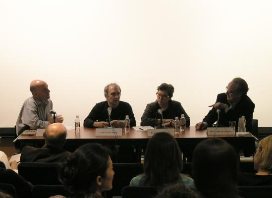 Figure 2. Plate 1.1. Roundtable 1: Hal Foster, Yves Alain Blois, and others.