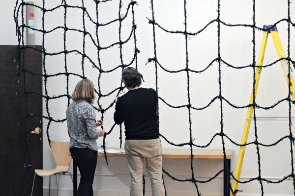 'Behind the scenes' efforts in project making: Fuzzy Rope Weaving Evening, a community pilot project. Image courtesy of SCAPE.