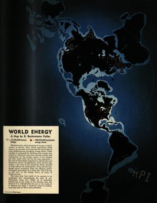 "Figure 1. ""World Energy"" map by R. Buckminster Fuller and Philip Ragan for Fortune magazine (February 1940). Courtesy of the Estate of R. Buckminster Fuller."