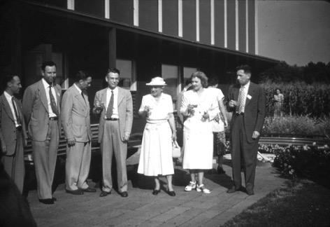 Figure 4. Opening reception for the Dover Sun House on March 20, 1949. Amelia Peabody (in hat), Maria Telkes, and Hoyt Hottel (next to Peabody), along other MIT engineering faculty. There was also a reception at the house during the MIT sym…