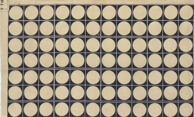 Noémi Raymond. Circles. c. 1939–40. Printed cotton, 76 1/2″ x 43 3/4 (194.3 x 111.1 cm). Manufactured by Cyrus Clark Co., Inc., New York, NY. The Museum of Modern Art, New York. Gift of the designer