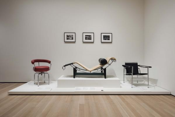 Perriand, Corbusier, Jeanneret furniture.  Installation view of How Should We Live? Propositions for the Modern Interior. The Museum of Modern Art, New York, October 1, 2016-April 23, 2017. © 2016 The Museum of Modern Art. P…
