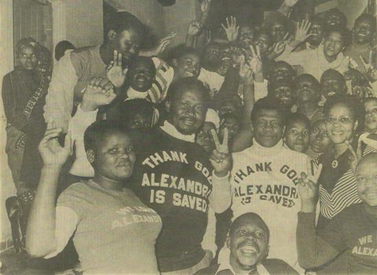 Figure 8: Save Alexandra Campaign Victory Celebrations, Linda Twala, left center, Sam Buti, right center). eNtokozweni was the hub of the Save Alexandra Campaign, run by local dignitaries including Sam Buti and Beyers Naude, resisting the f…