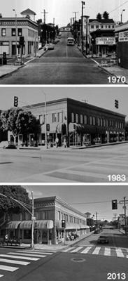 Figure 1. Mendota Block, 2667 Main Street, northeast corner of Hill Street and Main Street, Ocean Park, California. From 1970, 1983, and 2013.  Today there is a Starbucks at the corner. Credit: Los Angeles Times.