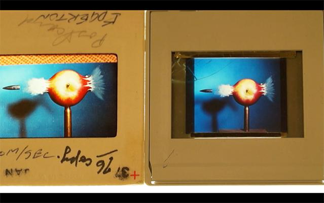 "Harold Edgerton's 35mm slide copies of the original print of ""Bullet Through Apple."" Collection of the MIT Museum."