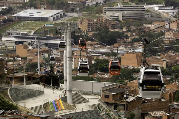 Cable car connecting Medellin's informal barrios. (Credits: reproduced with authorization of the Planning Department of the City of Medellin.)